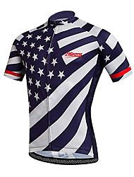 Недорогие -21Grams Муж. С короткими рукавами Велокофты Синий / белый Американский / США Звезды Флаги Велоспорт Джерси Верхняя часть Горные велосипеды Шоссейные велосипеды / Эластичная / Быстровысыхающий