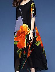 cheap -Women's Vacation Holiday Long Shift Dress - Floral Print Spring & Summer Black M L XL XXL