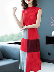 cheap -Women's Shift Dress - Color Block Black Red Gray One-Size