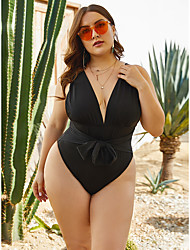 cheap -Women's Plus Size Sporty One-piece Swimwear Swimsuit - Solid Colored XXL XXXL XXXXL Black