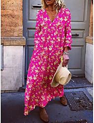 cheap -Women's Vacation Beach Maxi Loose A Line Loose Dress - Floral V Neck Yellow Fuchsia Light Blue S M L XL