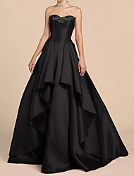 cheap -Ball Gown Elegant Black Engagement Prom Dress Sweetheart Neckline Sleeveless Floor Length Satin with Sequin Tier 2020