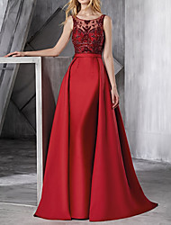 cheap -Ball Gown Jewel Neck Floor Length Polyester Elegant / Red Engagement / Prom Dress with Lace Insert / Appliques 2020