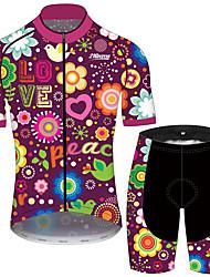 Недорогие -21Grams Муж. С короткими рукавами Велокофты и велошорты Лиловый С сердцем Цветочные ботанический Велоспорт Наборы одежды Устойчивость к УФ Дышащий 3D-панель Быстровысыхающий Впитывает пот и влагу