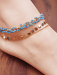 cheap -Anklet Luxury Boho Fashion Women's Body Jewelry For Party Evening Beach Beads Alloy Red Blue 1 Piece
