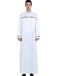 cheap -Men's Daily Fall & Winter Long Trench Coat, Color Block Stand Long Sleeve Polyester Black / White / Beige