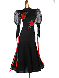 cheap -Ballroom Dance Dresses Women's Performance Spandex Embroidery Long Sleeve Dress
