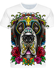 cheap -Men's Daily Going out Basic T-shirt - 3D / Animal Dog, Print White