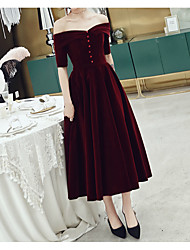 cheap -A-Line Off Shoulder Tea Length Velvet Minimalist / Red Cocktail Party / Wedding Guest Dress with Buttons 2020