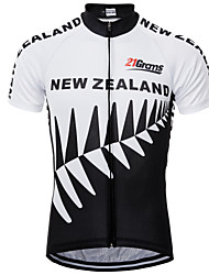 cheap -21Grams New Zealand National Flag Men's Short Sleeve Cycling Jersey - Black / White Bike Top UV Resistant Breathable Quick Dry Sports Terylene Mountain Bike MTB Road Bike Cycling Clothing Apparel