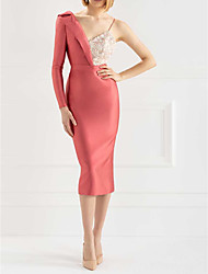 cheap -Sheath / Column One Shoulder Knee Length Polyester Sexy / Red Engagement / Cocktail Party Dress with Beading / Split / Appliques 2020