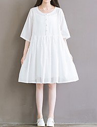 cheap -Women's Loose Dress - Solid Color White S M L XL