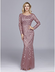 cheap -Mermaid / Trumpet Elegant Pink Wedding Guest Formal Evening Dress Jewel Neck Long Sleeve Floor Length Tulle Sequined with Sequin Appliques 2020