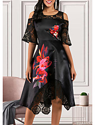 cheap -Women's A Line Dress - Short Sleeve Floral Lace Ruffle Street chic Black M L XL XXL XXXL