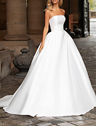 cheap -Ball Gown Strapless Sweep / Brush Train Polyester Strapless Country / Vintage Plus Size Wedding Dresses with Draping 2020