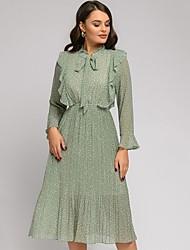 cheap -Women's Green White Dress A Line Polka Dot S M