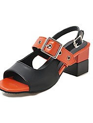 cheap -Women's Sandals Chunky Heel Peep Toe Buckle PU Vintage / Casual Summer Dark Brown / White / Orange