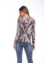 cheap -Women's Leopard Long Sleeve Cardigan Sweater Jumper, V Neck Spring / Fall Gray S / M / L