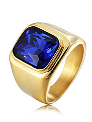 cheap -Men's Ring Crystal 1pc Black Blue Red Titanium Steel Stone Square Vintage Fashion Birthday Party Evening Jewelry Geometrical Precious