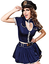 cheap -Police Adults' Women's Skirt Outfits For Polyster Masquerade Top Skirt Belt / Hat