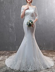 cheap -Mermaid / Trumpet Off Shoulder Sweep / Brush Train Lace Half Sleeve Beach Illusion Sleeve Wedding Dresses with Lace Insert / Embroidery 2020