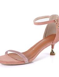 cheap -Women's Sandals Kitten Heel Round Toe PU Summer Black / Pink