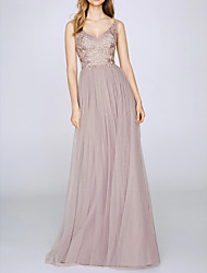 cheap -A-Line Elegant Pink Engagement Prom Dress V Neck Sleeveless Floor Length Chiffon with Pleats 2020
