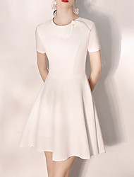 cheap -A-Line Minimalist White Homecoming Cocktail Party Dress Jewel Neck Short Sleeve Short / Mini Satin with Pleats 2020