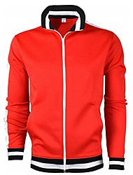 cheap -Men's Sports Spring &  Fall Regular Jacket, Striped Stand Long Sleeve Polyester Black / Red / Navy Blue
