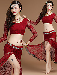 cheap -Women's Dancer Belly Dance Masquerade Halloween Lace Red Blue Black Skirts Top