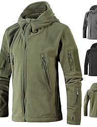 cheap -Men's Hoodie Jacket Hiking Jacket Military Tactical Jacket Winter Outdoor Thermal Warm Windproof Breathable Stretchy Winter Jacket Top Fleece Single Slider Hunting Fishing Climbing Black Yellow Army
