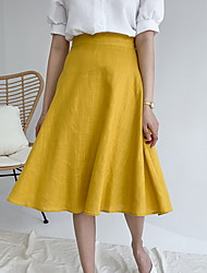 cheap -Women's Swing Skirts - Solid Colored Yellow Khaki Black M L XL