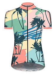 cheap -21Grams Women's Short Sleeve Cycling Jersey Summer Spandex Polyester Green / Yellow Floral Botanical Funny Coconut Tree Bike Jersey Top Mountain Bike MTB Road Bike Cycling UV Resistant Quick Dry