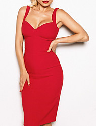 cheap -Sheath / Column Sweetheart Neckline Knee Length Polyester Sexy / Red Engagement / Cocktail Party Dress with Sleek 2020