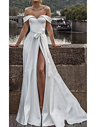 cheap -A-Line Off Shoulder Sweep / Brush Train Satin Short Sleeve Formal Wedding Dress in Color Wedding Dresses with Split Front 2020