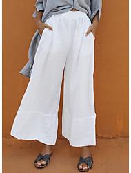 cheap -Women's Basic Loose Cotton Wide Leg Pants - Solid Colored White Black Royal Blue S / M / L