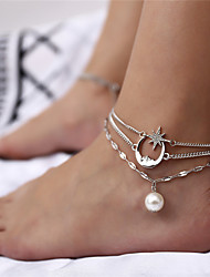 cheap -Anklet Elegant Boho Fashion Women's Body Jewelry For Party Evening Beach Beads Alloy Gold Silver 1 Piece