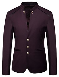 cheap -Men's Blazer, Solid Colored Stand Polyester Black / Wine / Navy Blue