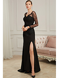 cheap -Sheath / Column Sexy Black Party Wear Formal Evening Dress V Neck Long Sleeve Sweep / Brush Train Chiffon Tulle with Beading Split Appliques 2020