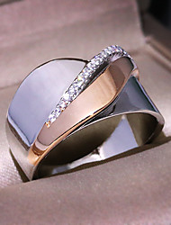 cheap -Men's Women's Ring AAA Cubic Zirconia 1pc Silver Rose Gold Platinum Plated Alloy Stylish Wedding Party Jewelry Cute / Gift / Daily / Engagement