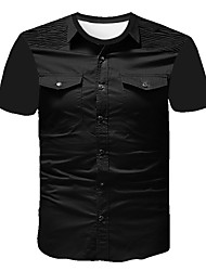 cheap -Men's Going out Work Business / Street chic T-shirt - Abstract / Solid Colored Print Black