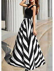 cheap -Women's Maxi Black Dress Swing Striped S M