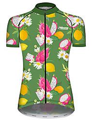 Недорогие -21Grams Жен. С короткими рукавами Велокофты Зеленый  / желтый Цветочные ботанический Фрукты Лимонный Велоспорт Джерси Верхняя часть Горные велосипеды Шоссейные велосипеды / Эластичная / Дышащий