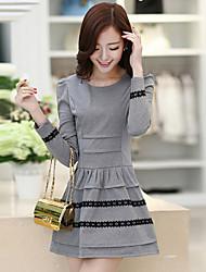 cheap -Women's Light gray Black Dress A Line Color Block S M / Cotton