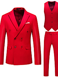 cheap -Men's Suits, Solid Colored Peaked Lapel Polyester Purple / Blushing Pink / Red