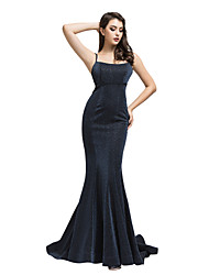 cheap -Mermaid / Trumpet Spaghetti Strap Sweep / Brush Train Spandex Sexy / Blue Engagement / Formal Evening Dress with Criss Cross 2020