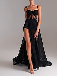 cheap -A-Line Sweetheart Neckline Court Train Tulle Sexy / Black Party Wear / Formal Evening Dress with Split 2020