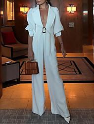 cheap -Women's White Wide Leg Jumpsuit Onesie, Solid Colored M L XL