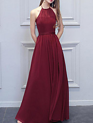 cheap -A-Line Empire Red Wedding Guest Prom Dress Halter Neck Sleeveless Floor Length Polyester with Split 2020