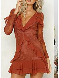 cheap -Women's Sheath Dress - Solid Color Orange White S M L XL